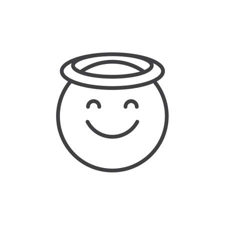 Angel face emoticon outline icon. linear style sign for mobile concept and web design. Smiling face emoji with halo simple line vector icon. Symbol, logo illustration. Pixel perfect vector graphics