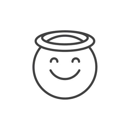 Engel gezicht emoticon overzicht pictogram. lineaire stijl teken voor mobiel concept en webdesign. Lachend gezicht emoji met halo eenvoudige lijn vector pictogram. Symbool, logo illustratie. Pixel perfecte vectorafbeeldingen