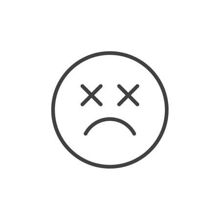 Icono de esbozo de emoticon muerto. signo de estilo lineal para el concepto móvil y el diseño web. Icono de vector de línea simple de emoji de cara sonriente triste. Símbolo, ilustración de logotipo. Gráficos vectoriales perfectos para píxeles Logos