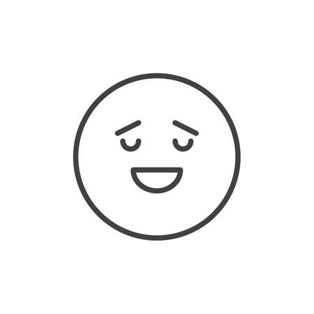 Calm face emoticon outline icon. linear style sign for mobile concept and web design. Happy calm emoji simple line vector icon. Symbol, logo illustration. Pixel perfect vector graphics Çizim