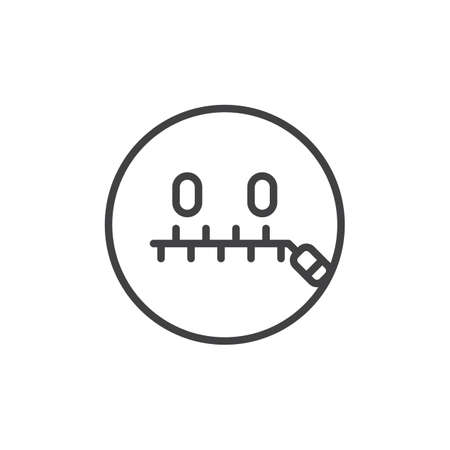 Zipped mouth smiley outline icon. linear style sign for mobile concept and web design. Secret mouth emoticon simple line vector icon. Symbol, logo illustration. Pixel perfect vector graphics