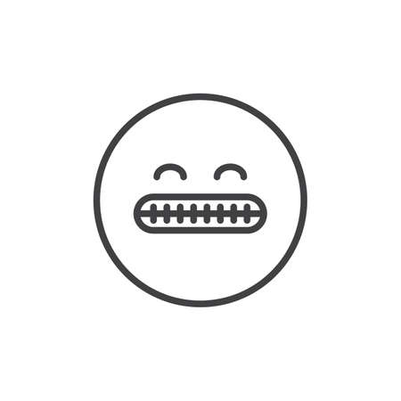 Shocked face emoticon outline icon. linear style sign for mobile concept and web design. Grimacing emoji showing bared teeth simple line vector icon. Symbol, logo illustration. Pixel perfect vector Illustration