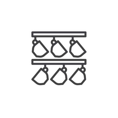 Coffee cup hangs outline icon. linear style sign for mobile concept and web design. Mugs stand and hang on the kitchen hanger simple line vector icon. Symbol, logo illustration. Pixel perfect vector  イラスト・ベクター素材