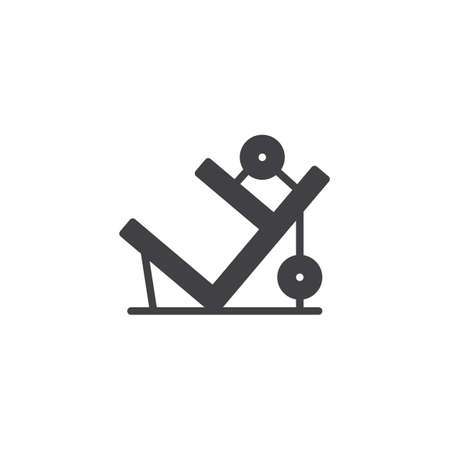 Leg press machine vector icon. filled flat sign for mobile concept and web design. training apparatus simple solid icon. Symbol, logo illustration. Pixel perfect vector graphics