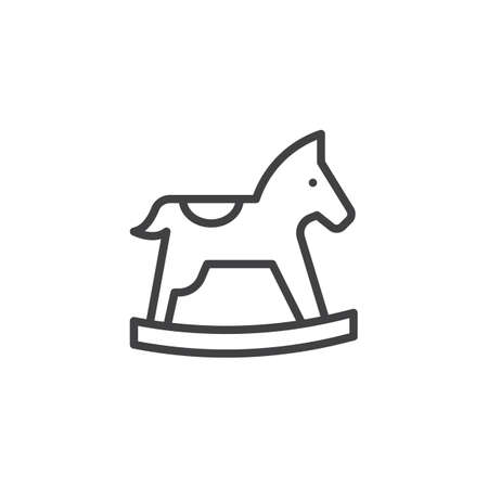 Rocking horse outline icon. linear style sign for mobile concept and web design. Horse toy simple line vector icon. Symbol, logo illustration. Pixel perfect vector graphics