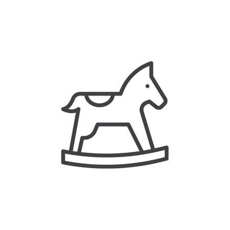 Icona di contorno del cavallo a dondolo. segno di stile lineare per il concetto di mobile e web design. Icona di vettore di linea semplice del giocattolo del cavallo. Simbolo, illustrazione logo. Pixel perfetta grafica vettoriale Logo