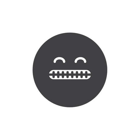 Shocked face emoticon vector icon. filled flat sign for mobile concept and web design. Grimacing emoji showing bared teeth simple solid icon. Symbol, logo illustration. Pixel perfect vector graphics Stock Photo