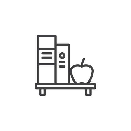 Book shelf and apple outline icon. linear style sign for mobile concept and web design. Education, learning and knowledge line vector icon.