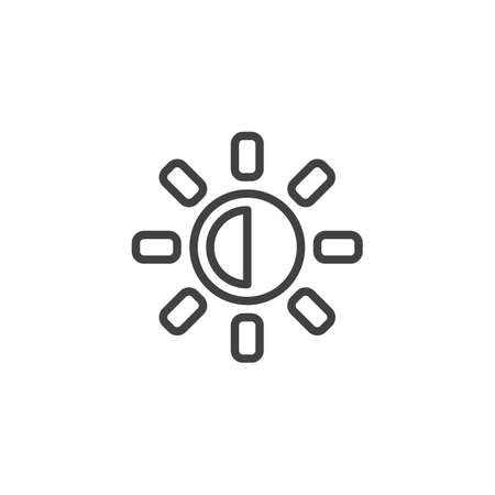 Brightness and contrast button outline icon. linear style sign for mobile concept and web design. designer utility simple line vector icon. Symbol, logo illustration. Pixel perfect vector graphics