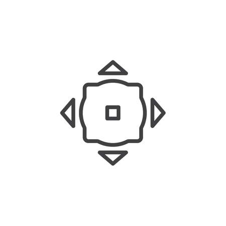 Move button outline icon. linear style sign for mobile concept and web design. simple line vector icon. Symbol, logo illustration. Pixel perfect vector graphics
