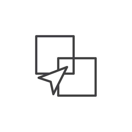 Intersect squares outline icon. linear style sign for mobile concept and web design. Intersection arrow simple line vector icon. Graphic Tool Symbol, logo illustration. Vector graphics Ilustração