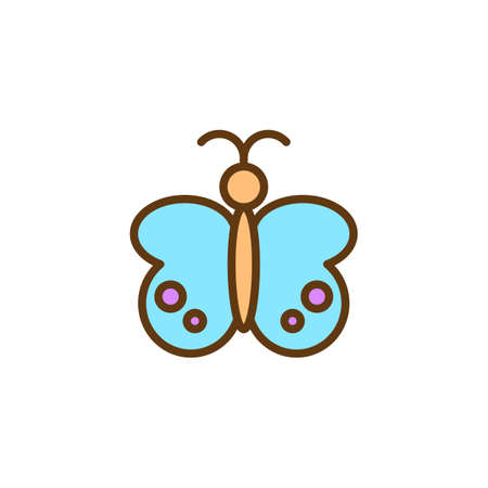 Butterfly filled outline icon, line vector sign, linear colorful pictogram isolated on white. Moth symbol, logo illustration. Pixel perfect vector graphics