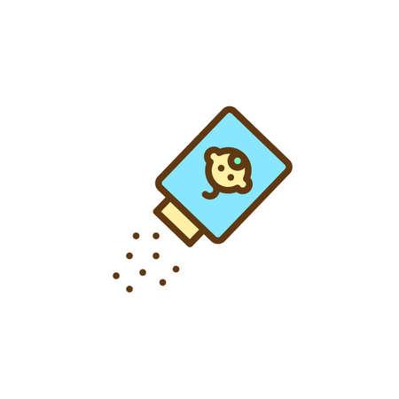 Icona di contorno riempito di polvere per bambini, segno di vettore di linea, pittogramma colorato lineare isolato su bianco. Simbolo di borotalco neonato, illustrazione di marchio. Pixel grafica vettoriale perfetta