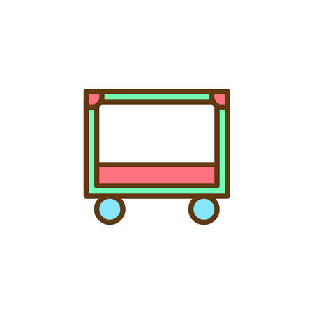 Baby crib filled outline icon, line vector sign, linear colorful pictogram isolated on white. Newborn cradle bed symbol, logo illustration. Pixel perfect vector graphics Stock Illustration - 109099004