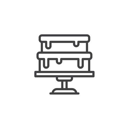 Cake on stand outline icon. linear style sign for mobile concept and web design. Cake on a tray simple line vector icon. Symbol, logo illustration. Pixel perfect vector graphics