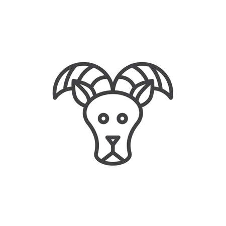 Aries zodiac outline icon. linear style sign for mobile concept and web design. Sheep, ram line vector icon. Symbol, logo illustration. Pixel perfect vector graphics