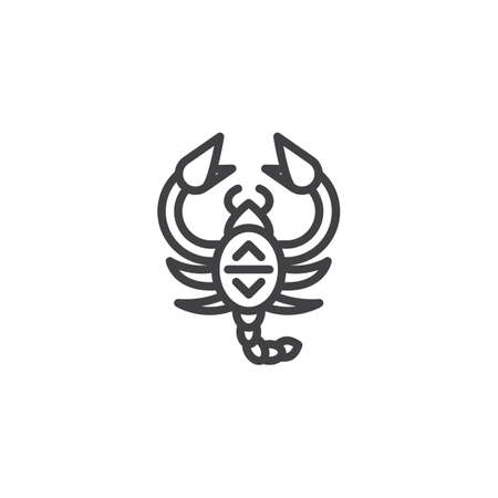 Scorpion zodiac outline icon. linear style sign for mobile concept and web design. Astrology simple line vector icon. Symbol, logo illustration. Pixel perfect vector graphics
