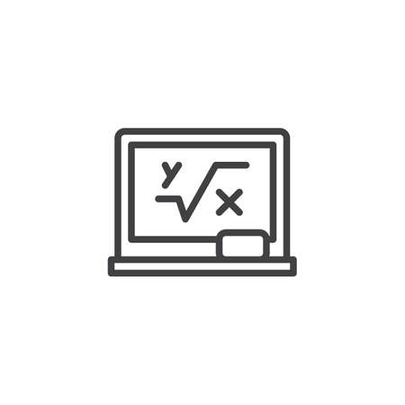 Blackboard with mathematical formula outline icon. linear style sign for mobile concept and web design. Math simple line vector icon. Symbol, illustration. Pixel perfect vector graphics Stock Photo