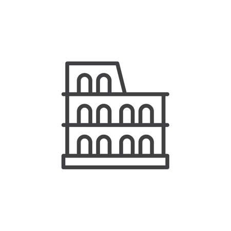 Coliseum outline icon. linear style sign for mobile concept and web design. Roman stadium simple line vector icon. Symbol,  illustration. Pixel perfect vector graphics Stock Photo
