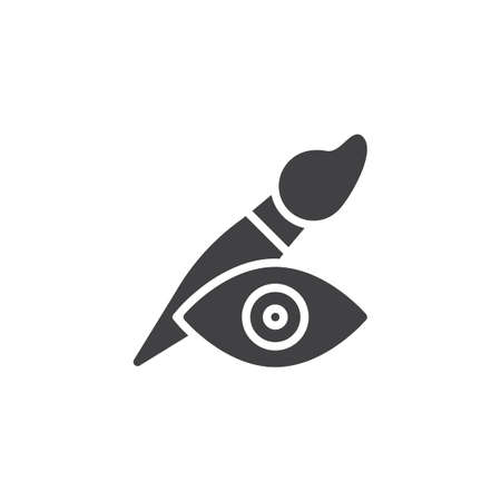 Paint brush and eye vector icon. filled flat sign for mobile concept and web design. Visibility simple solid icon. Symbol, logo illustration. Pixel perfect vector graphics Illustration