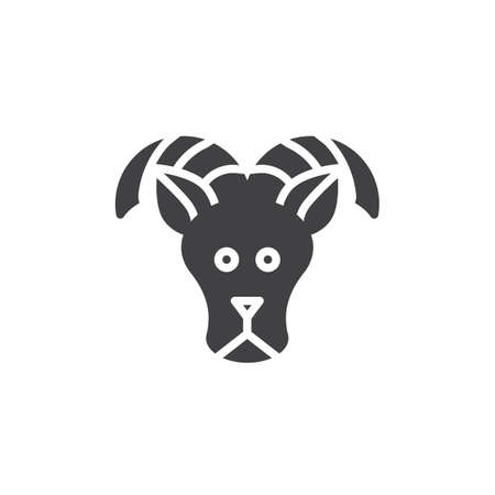 Aries zodiac vector icon. filled flat sign for mobile concept and web design. Sheep, ram solid icon. Symbol, logo illustration. Pixel perfect vector graphics Illustration