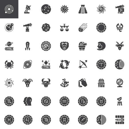 Astronomy and astrology vector icons set modern solid symbol collection filled style pictogram pack. Signs logo illustration. Set includes icons as Solar system, Satellite dish, Telescope, Observatory