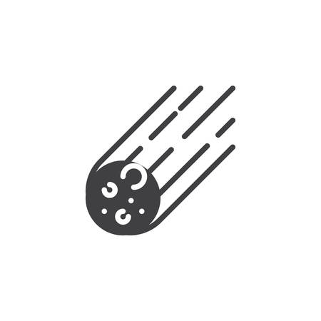 Asteroid rock falling vector icon. filled flat sign for mobile concept and web design. Meteor simple solid icon. Comet symbol, logo illustration. Pixel perfect vector graphics