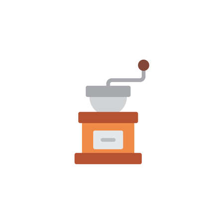 Coffee grinder flat icon, vector sign, colorful pictogram isolated on white. coffee grind maker symbol, logo illustration. Flat style design