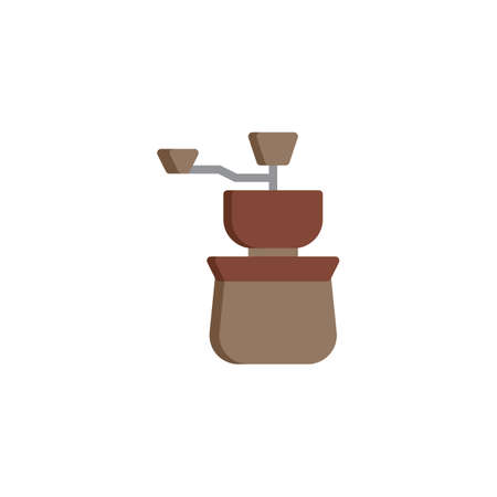 Coffee Grinder flat icon, vector sign, colorful pictogram isolated on white. Handle grinder symbol, logo illustration. Flat style design