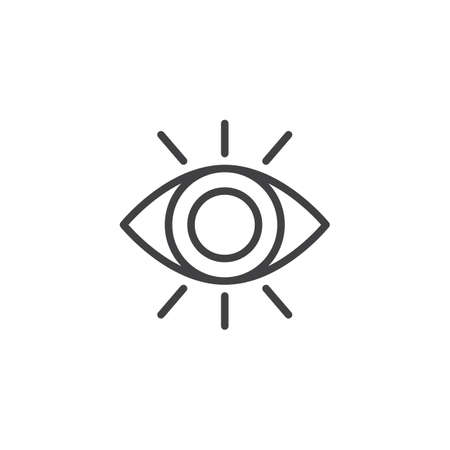 Eye sight outline icon. linear style sign for mobile concept and web design. Human eye simple line vector icon. Symbol, logo illustration. Pixel perfect vector graphics Illustration