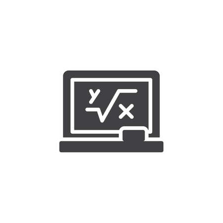 Blackboard with mathematical formula vector icon. filled flat sign for mobile concept and web design. Math simple solid icon. Symbol, logo illustration. Pixel perfect vector graphics