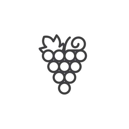 Grapes bunch outline icon. linear style sign for mobile concept and web design. Healthy fruit simple line vector icon. Symbol, logo illustration. Pixel perfect vector graphics