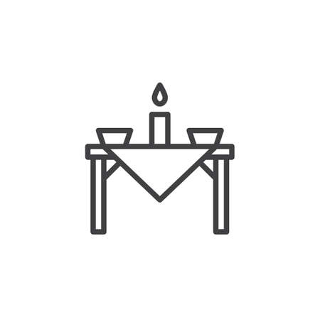 Dinner table outline icon. linear style sign for mobile concept and web design. Restaurant dinning table simple line vector icon. Symbol, logo illustration. Pixel perfect vector graphics Illustration
