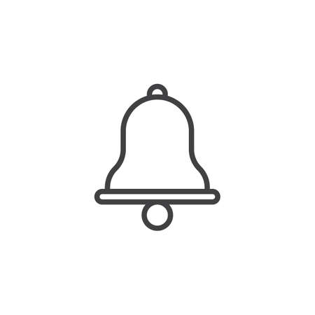 Alarm bell outline icon. linear style sign for mobile concept and web design. Notification jingle bell simple line vector icon. Symbol, logo illustration. Pixel perfect vector graphics