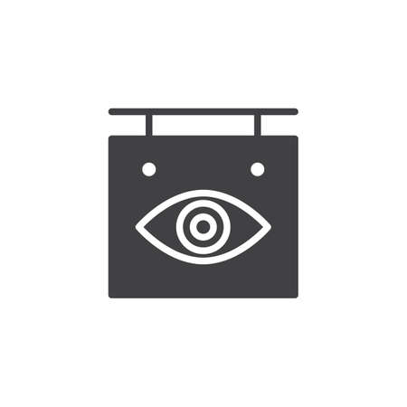Ophthalmology signboard vector icon. filled flat sign for mobile concept and web design. Optical clinic shop simple solid icon. Symbol, logo illustration. Pixel perfect vector graphics