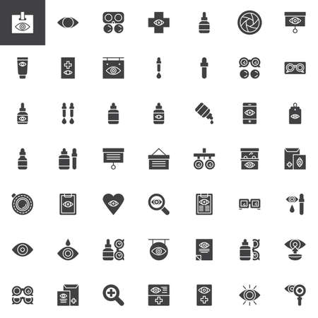 Optometrist vector icons set, modern solid symbol collection, filled style pictogram pack. Signs, logo illustration. Set includes icons as Contact lens, Ophthalmology cream, Eye drops, Medical test Illustration