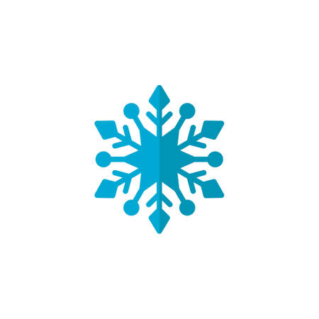 Blue Snowflake flat icon, vector sign, colorful pictogram isolated on white. Snow Winter symbol, logo illustration. Flat style design Ilustração