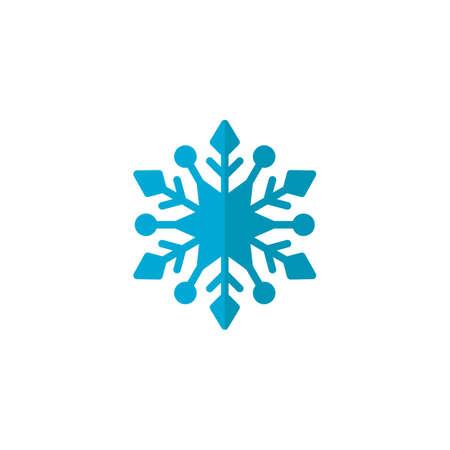 Icono plano de copo de nieve azul, vector de señal, pictograma colorido aislado en blanco. Símbolo de invierno de nieve, ilustración de logotipo. Diseño de estilo plano Logos