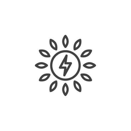 Solar energy outline icon. linear style sign for mobile concept and web design. Sun lightning simple line vector icon. Symbol, logo illustration. Pixel perfect vector graphics