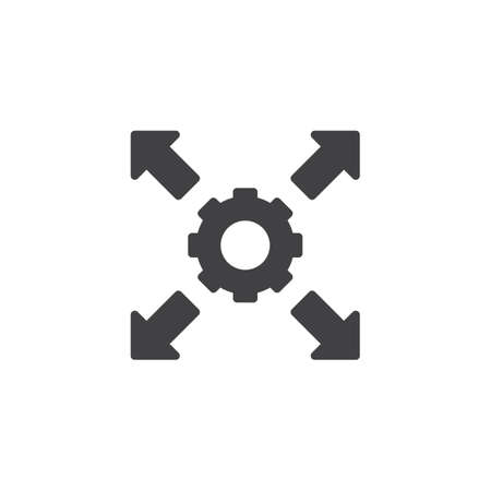 Cog Gear and arrows vector icon. filled flat sign for mobile concept and web design. Settings gear and arrows simple solid icon. Symbol, logo illustration. Pixel perfect vector graphics Illustration