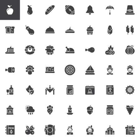 Thanksgiving vector iconen set, moderne solide symbool collectie gevuld stijl pictogram pack. Tekenen, logo afbeelding. Set bevat iconen als Piece of cake, Turkey leg, Dinner table, Pilgrim, Pumpkin pie