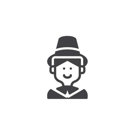 Pilgrim man with hat vector icon. filled flat sign for mobile concept and web design. Thanksgiving holiday simple solid icon. Symbol, logo illustration. Pixel perfect vector graphics
