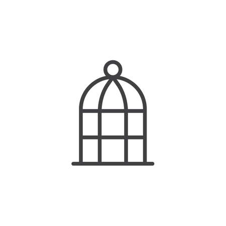 Bird cage outline icon. linear style sign for mobile concept and web design. bird cell simple line vector icon. Symbol, logo illustration. Pixel perfect vector graphics Çizim