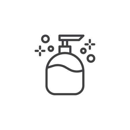Liquid soap outline icon. linear style sign for mobile concept and web design. Cosmetic plastic bottle with dispenser pump simple line vector icon. Symbol, logo illustration. Pixel perfect vector Illustration