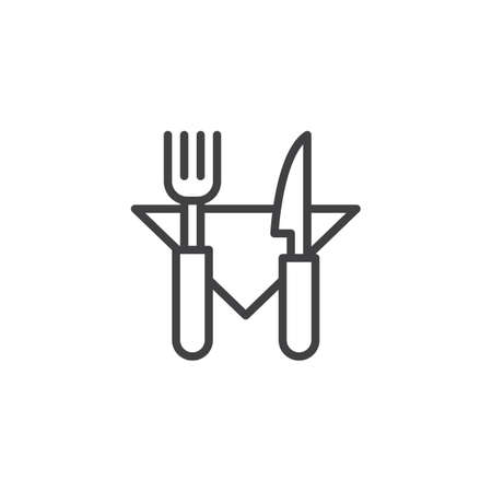 Fork knife and napkin outline icon. linear style sign for mobile concept and web design. Restaurant cutlery simple line vector icon. Symbol, logo illustration. Pixel perfect vector graphics Illustration
