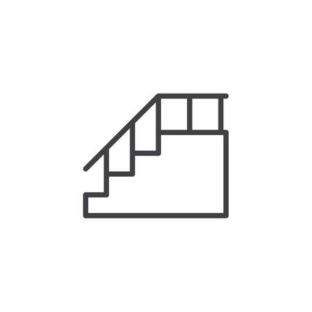 Stairs with handrail outline icon. linear style sign for mobile concept and web design. Staircase line vector icon. Symbol, logo illustration. Pixel perfect vector graphics