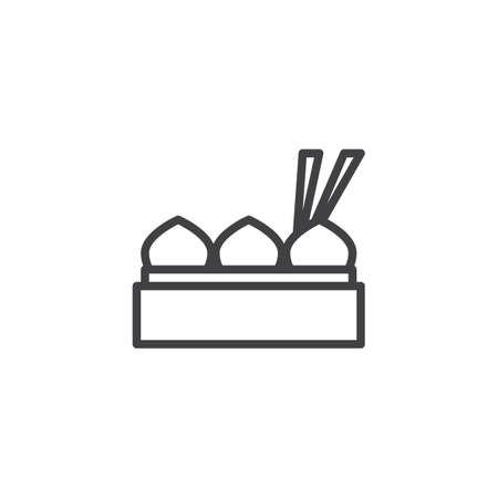 Dumpling momos with chopstick outline icon. linear style sign for mobile concept and web design. Chinese food simple line vector icon. Symbol, logo illustration. Pixel perfect vector graphics