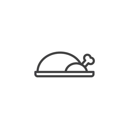 Peking duck food outline icon. linear style sign for mobile concept and web design. Chicken food simple line vector icon. Asian food symbol, logo illustration. Pixel perfect vector graphics Illusztráció
