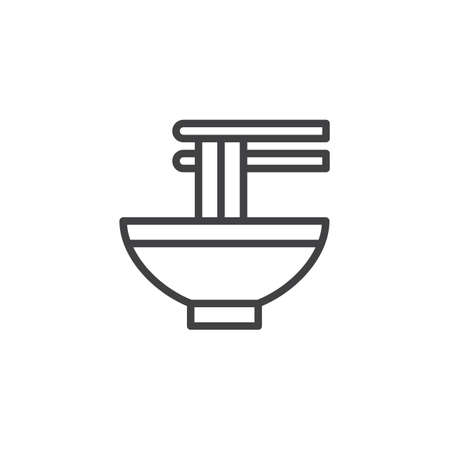 Noodles bowl outline icon. linear style sign for mobile concept and web design. Chinese soup in bowl with chopsticks line vector icon. Symbol, logo illustration. Vector graphics Stock Illustratie