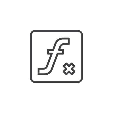 Mathematical Function outline icon. linear style sign for mobile concept and web design. Math sign simple line vector icon. Symbol, logo illustration. Pixel perfect vector graphics